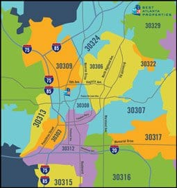 Intown Atlanta Home Search By Zip Code Map