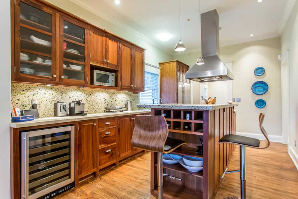 Eco Friendly Kitchen Features Recycled Glass Counters And Backsplash Plus Hand Crafted Cabinetry From Repurposed