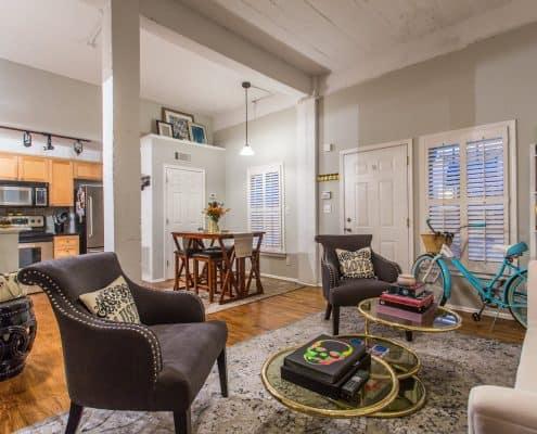 Atlanta Lofts for sale - Virginia-Highland Loft For Sale. Living Area at 1026 St Charles Av, Unit 10, Atlanta, GA
